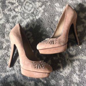 Nude Pump with Silver Detailing